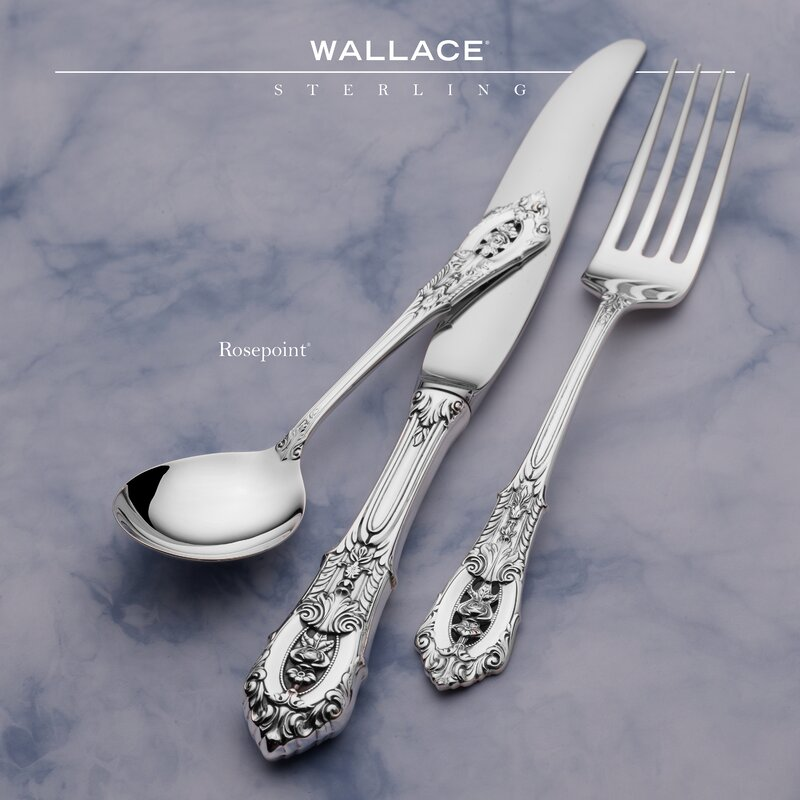 WALLACE ROSE POINT STERLING SILVER 6 PIECES PLACE SETTING IN EXCELLENT MINT