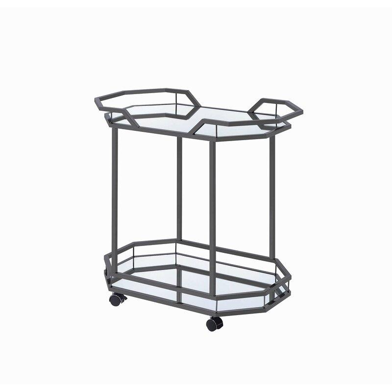 Mercer41  Tonquin Serving Bar Cart Frame Color: Black Nickel