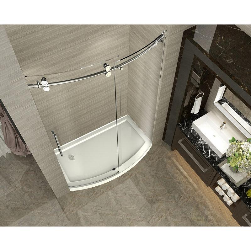 Zenarch 60 X 75 Single Sliding Completely Frameless Bowfront Shower Door