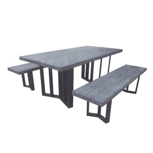 Linch Outdoor Picnic Table with 2 Benches