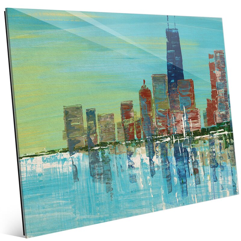 'Chicago Evening' Painting Print on Glass
