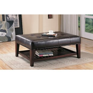 Iddings Charming Leather Tufted Cocktail Ottoman by Winston Porter