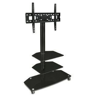 TV Cart Mobile 3 Glass Storage Shelves Fixed Floor Stand Mount 32