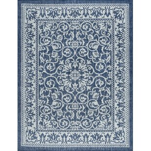 Hayle Transitional Floral Navy Indoor/Outdoor Area Rug