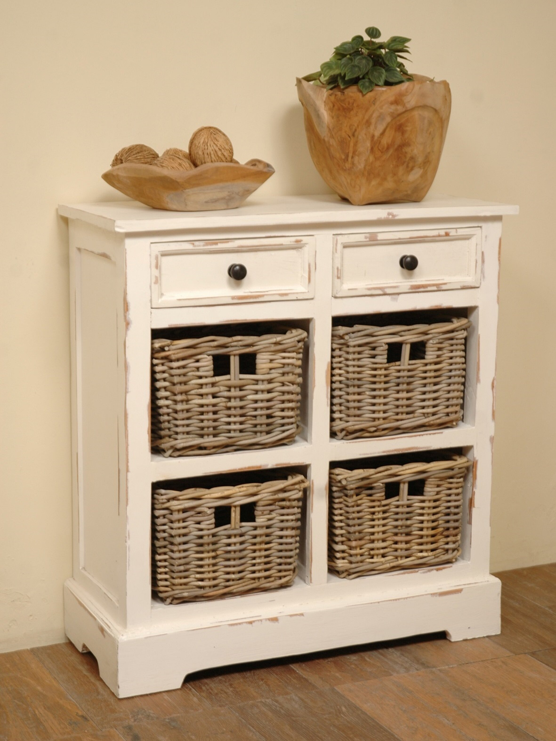Brown / White Storage Rack with Baskets By August Grove