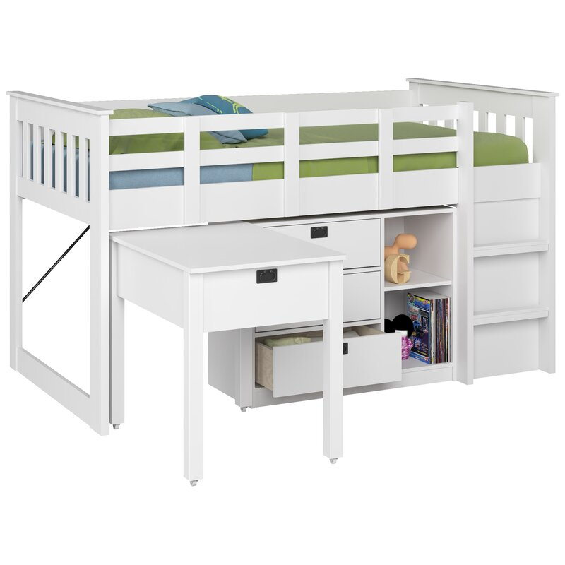 Mack Milo Angelica Twin Low Loft Bed With Storage And Bookcase