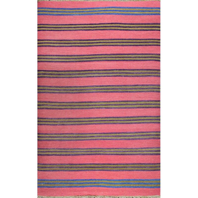 Union Rustic Patridge Striped Handwoven Wool Pink Blue Area Rug Wayfair
