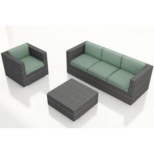 Harmonia Living District 3 Piece Sunbrella Sofa Set with Cushions