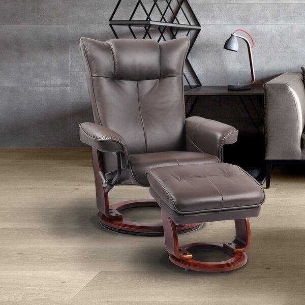Red Barrel Studio Souris Genuine Leather Manual Swivel Recliner With Ottoman Wayfair