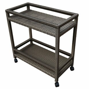 Abba Patio Outdoor Wicker Bar Cart with Shelves and Wheels