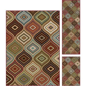 Calhoun 3 Piece Brown/Beige Area Rug Set