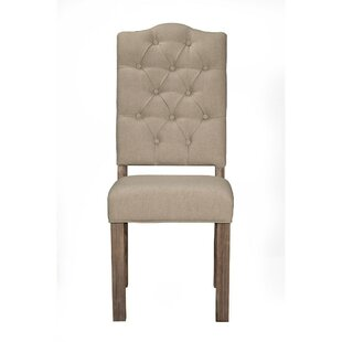 One Allium Way Keeley Mahogany Wood Upholstered Dining Chair