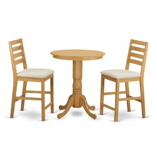 3 Piece Counter Height Pub Table Set Wooden Importers