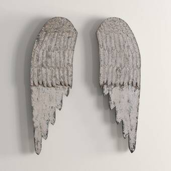 Gracie Oaks 2 Piece Metal Angel Wings Wall Décor Set Reviews Wayfair