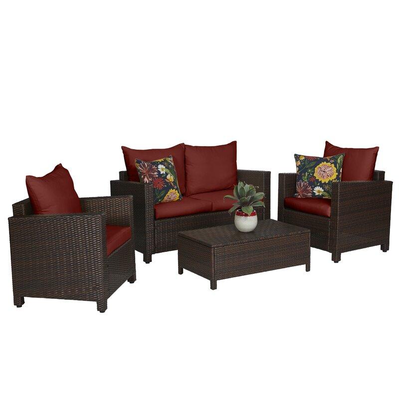 Beachcrest Home Belva 4 Piece Rattan Sofa Set with Cushions ...