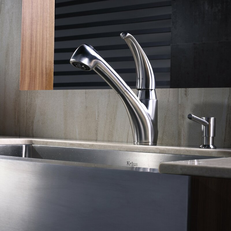 kraus stainless steel pull out kitchen faucet with soap dispenser