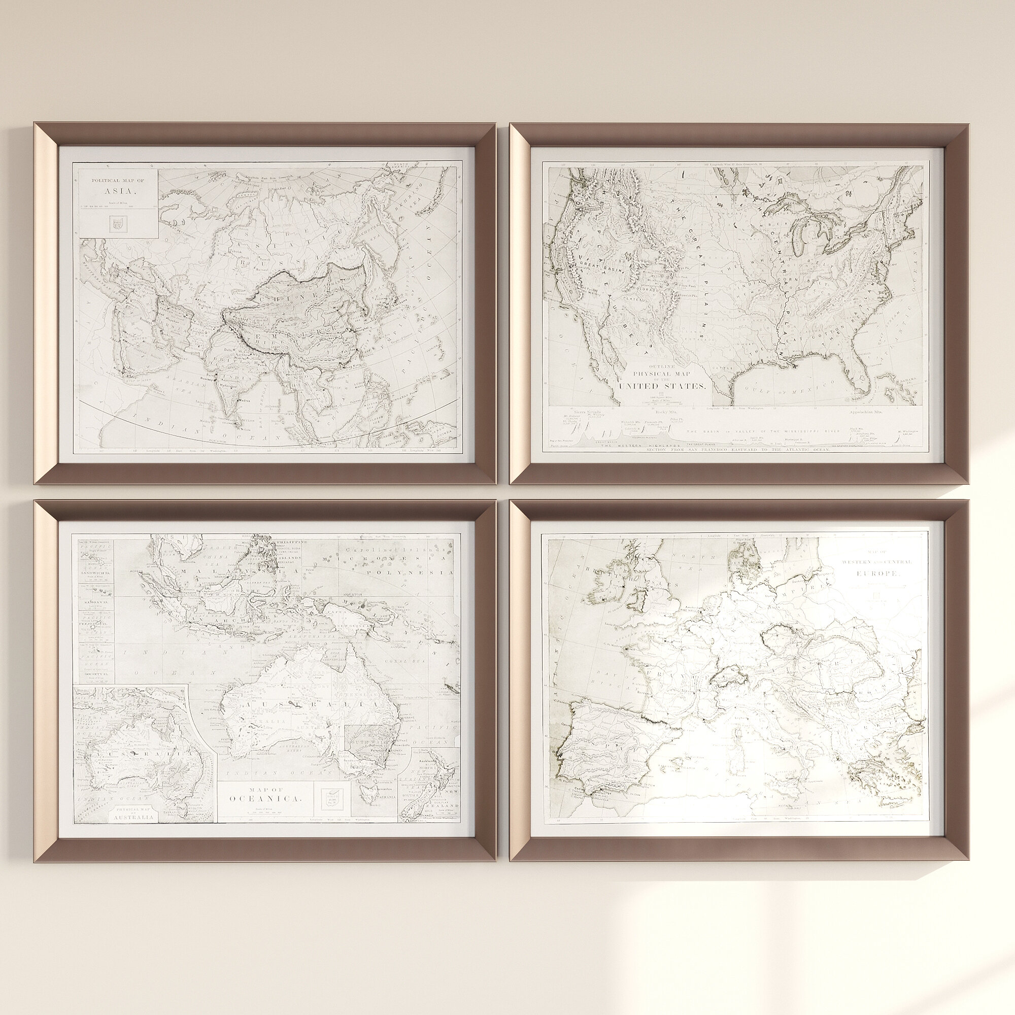 Three Posts World Maps By Grace Feyock 4 Piece Picture Frame Graphic Art Print Set On Wood Reviews Wayfair