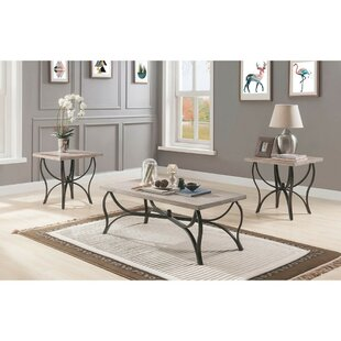 Macon Wood and Metal 3 Piece Coffee Table Set