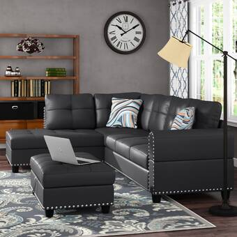 Lark Manor Adcock Faux Leather Right Hand Facing Sofa Chaise With Ottoman Reviews Wayfair