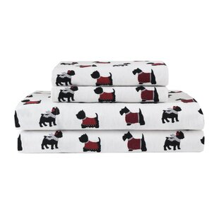 Devonport Dogs 100% Cotton Flannel Sheet Set