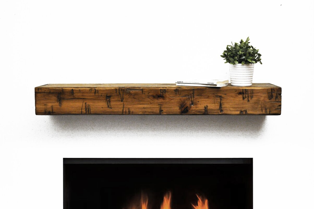 rustic fireplace mantel shelf