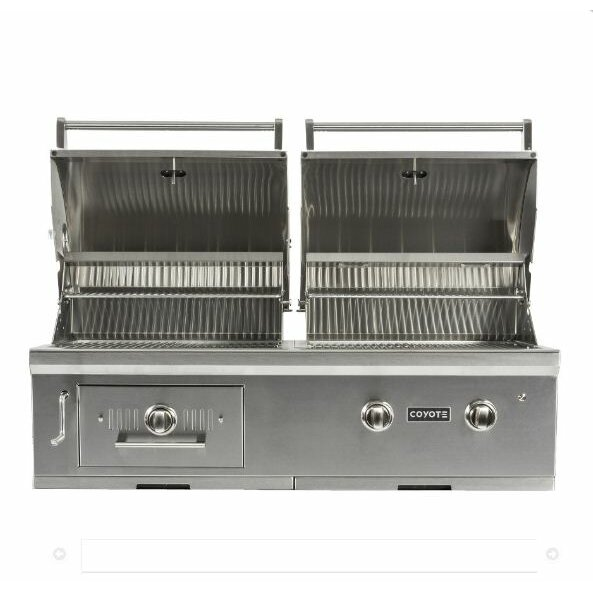 Coyote grills 2 burner built in gas and charcoal grill for Coyote outdoor grills reviews