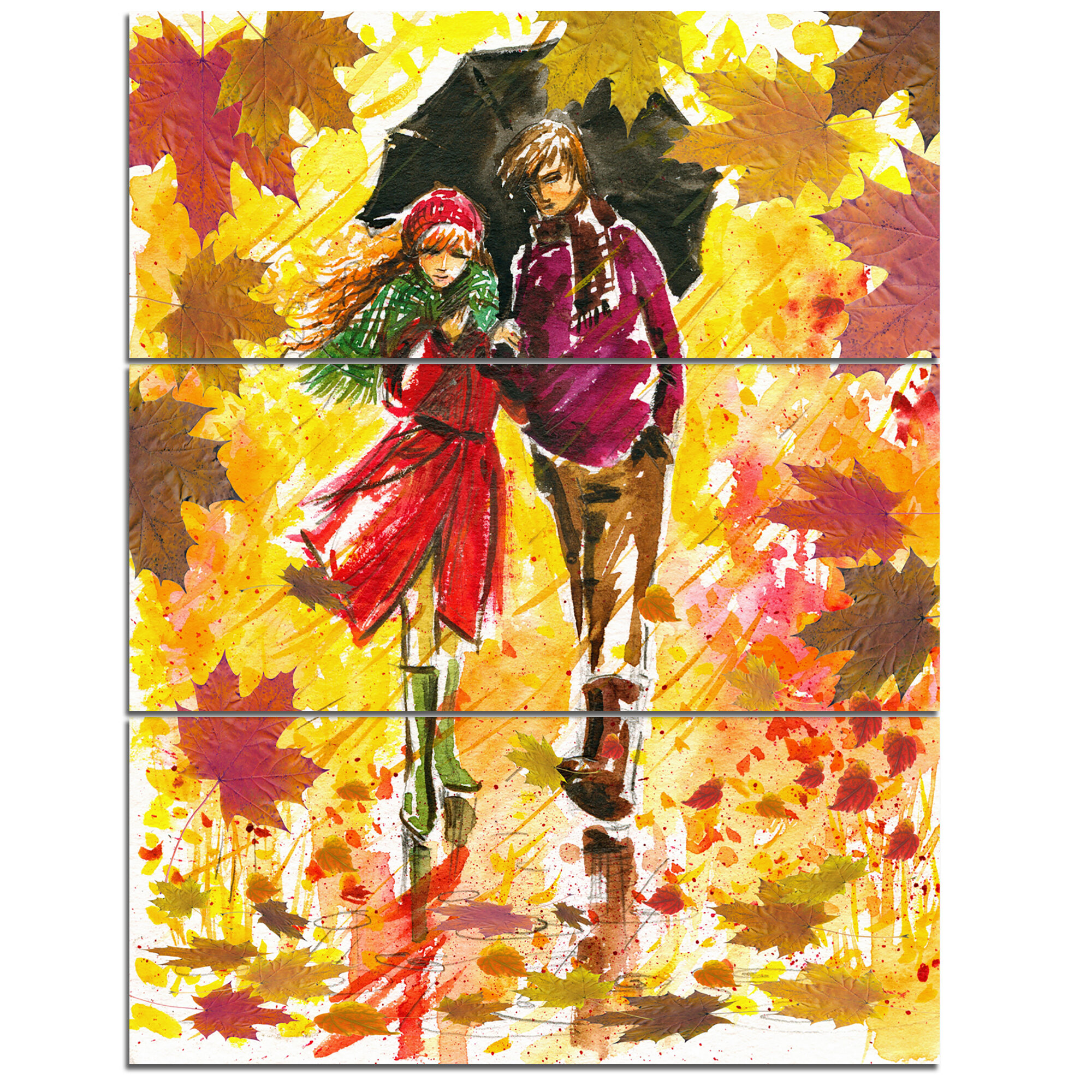 DesignArt Autumn Walk of Couple - 3 Piece Wall Art on Wrapped Canvas ...