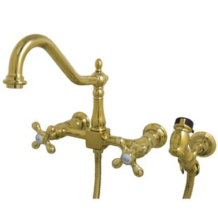 Kingston Brass Heritage Centerset Double Handle Kitchen Faucet with Side Spray