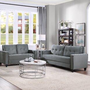 2Pcs Gray Sofa Set Morden Style Couch Furniture Upholstered Loveseat+Three-Seater Sofa,For Home&Office by Latitude Run