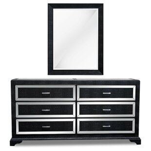 6 Drawer Double Dresser With Mirror by BestMasterFurniture New