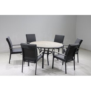 VanVleet 6 Seater Dining Set With Cushions And Parasol By Sol 72 Outdoor