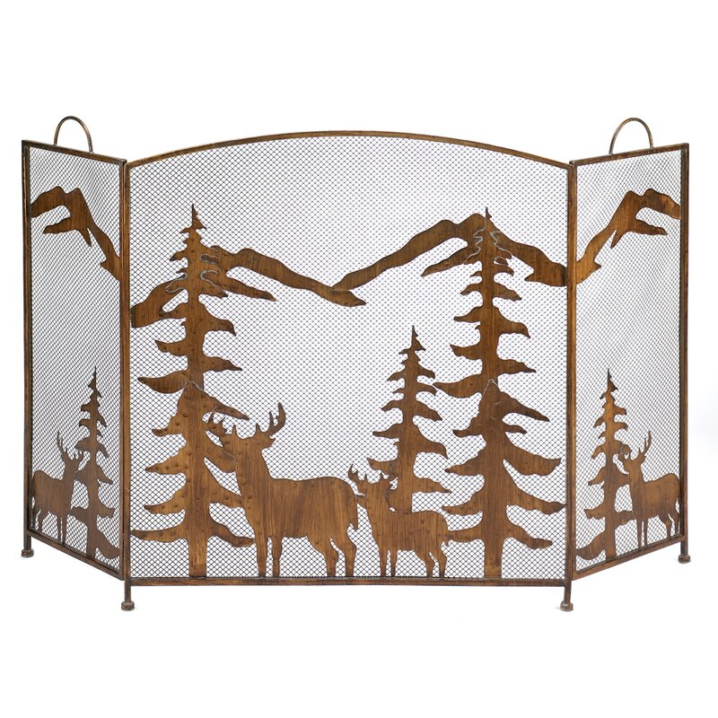 Iron Fireplace Screens zingz & thingz mountain wilderness 3 panel wrought iron fireplace