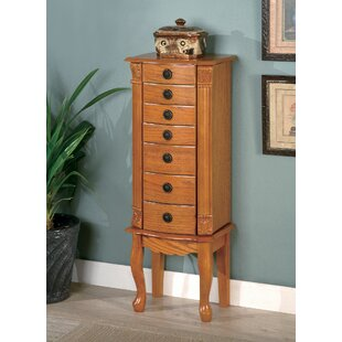 Rhianna Classic Beautiful Free Standing Jewelry Armoire with Mirror by Astoria Grand