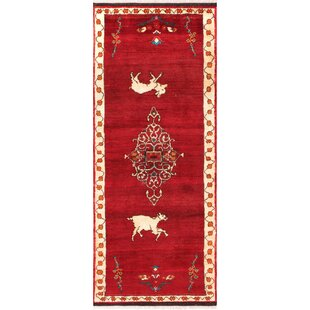 Gabbeh Vintage Lamb S Wool Runner Hand Knotted Red Black Area Rug