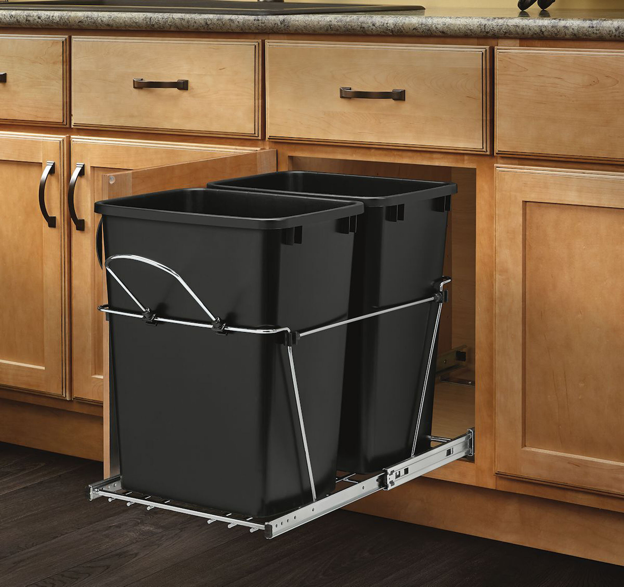 Rev A Shelf Double Roll 8 75 Gallon Pull Out Trash Can Reviews Wayfair