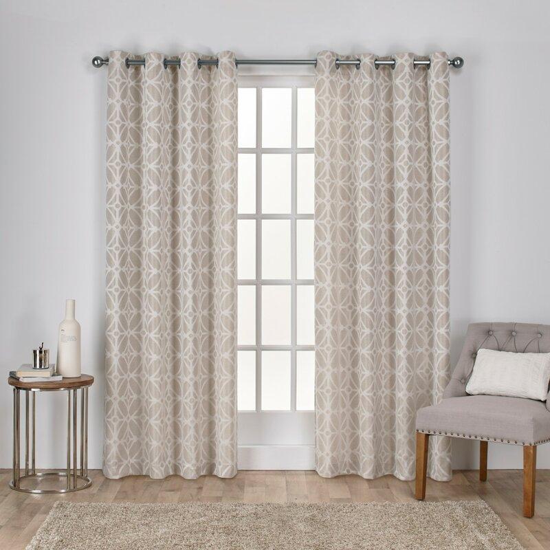 Cressy Geometric Semi-sheer Grommet Curtain Panels