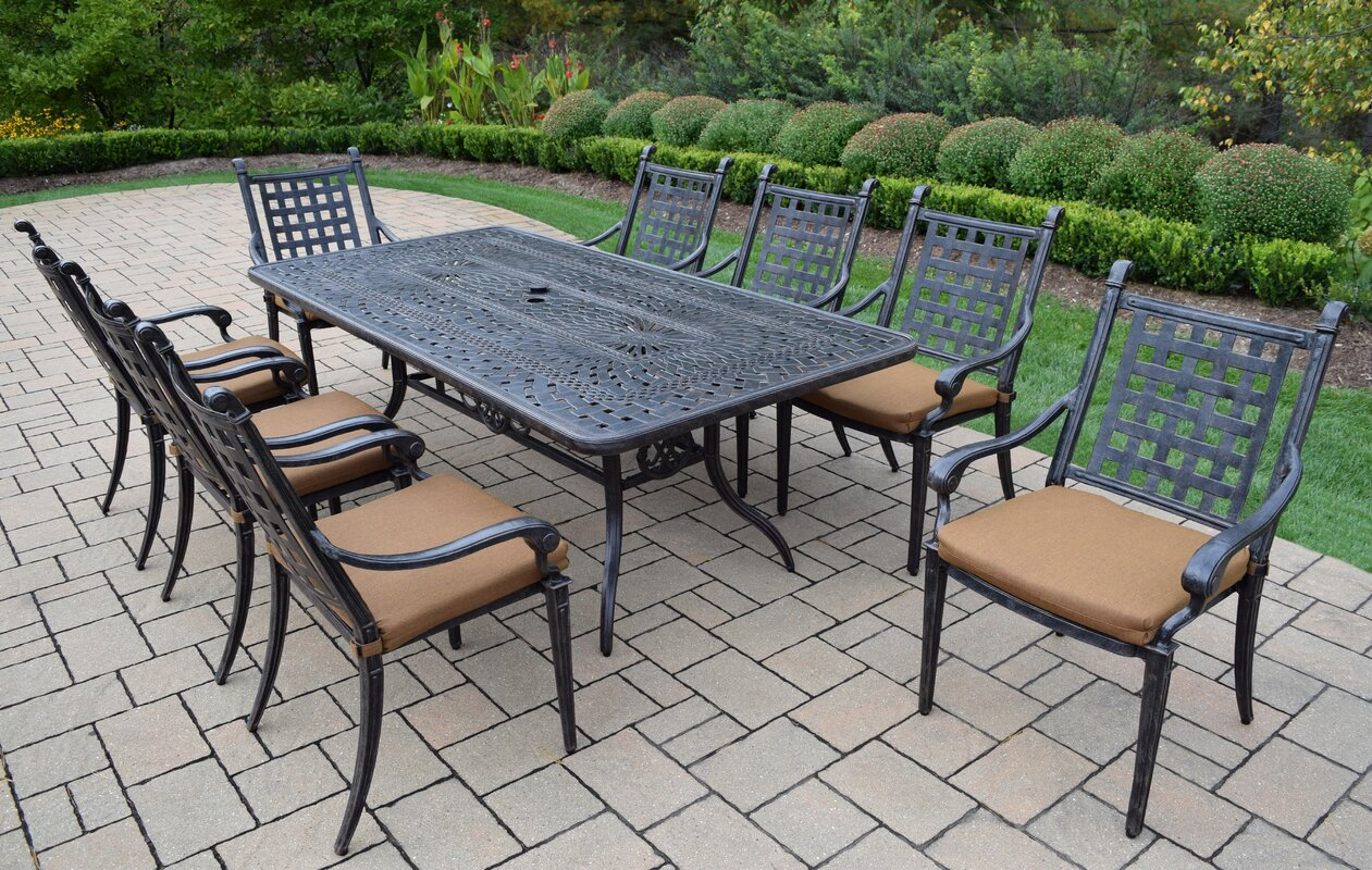 dining granite darlee tile piece patio brown ultimate aluminum cast mocha rectangular set top sedona with table