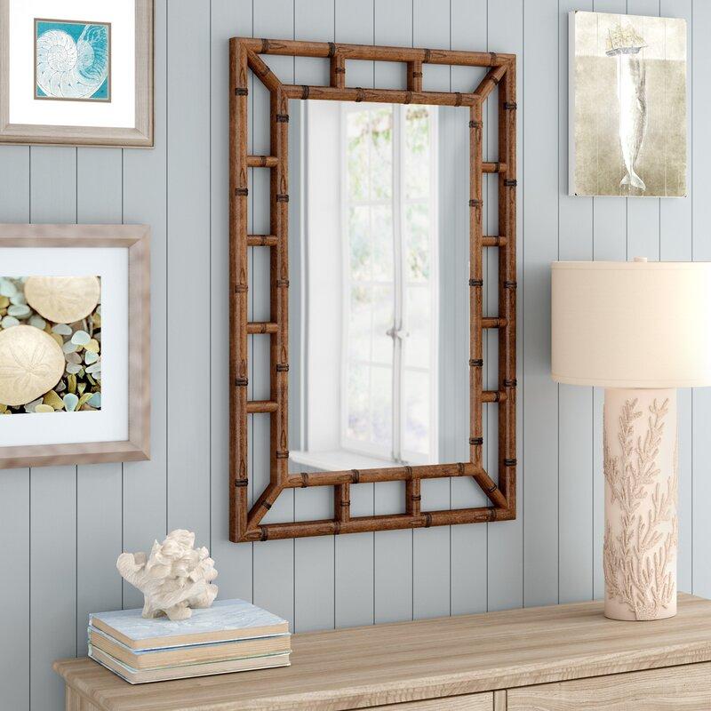 Cleta Bamboo Brown Traditional Beveled Wall Mirror