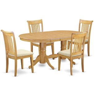 Daniella 5 Piece Extendable Solid Wood Dining Set by Alcott Hill Design