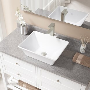 Inexpensive Vitreous China Rectangular Vessel Bathroom Sink with Faucet and Overflow ByMR Direct