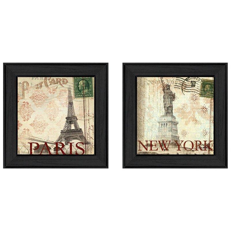Trendy Decor 4u Post Cards 2 Piece Picture Frame Graphic Art Print Set On Paper Wayfair