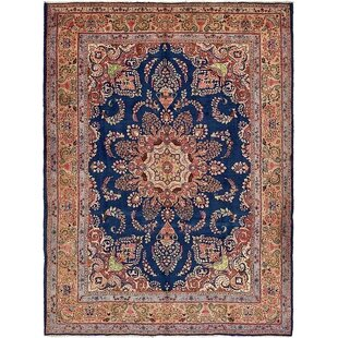 One Of A Kind Winterstown Fade Resistant Persian Hand Woven Wool Navy Blue Oriental Area Rug With Fringe