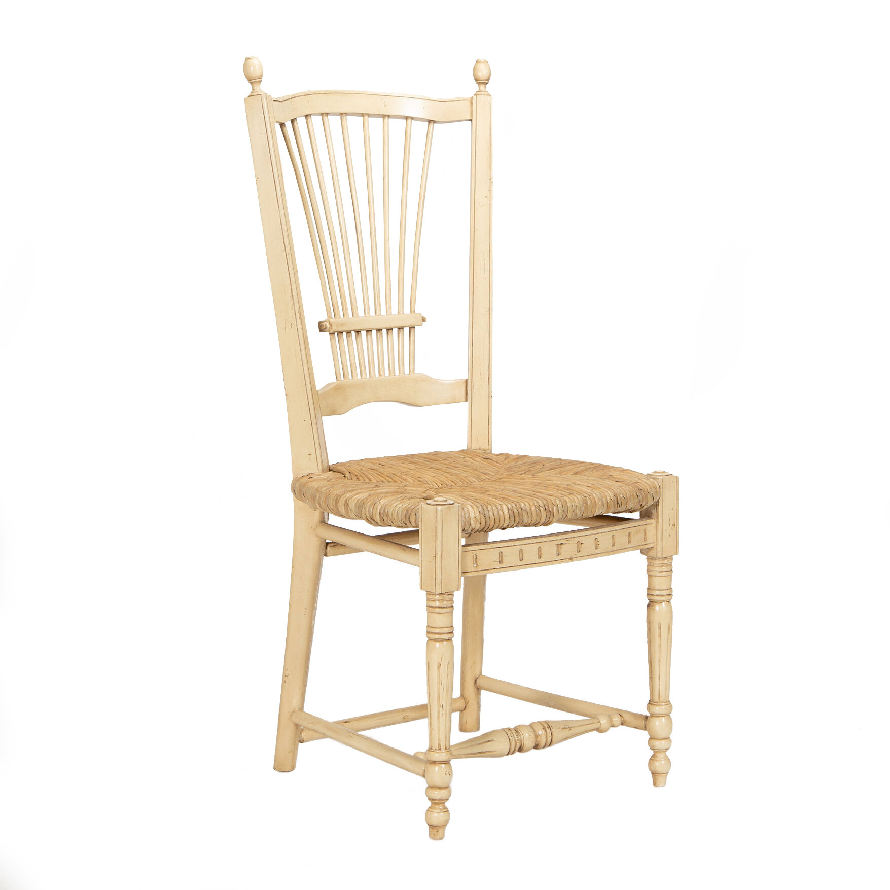 Manor Born Furnishings Provence Solid Wood Slat Back Side Chair In Cream Perigold