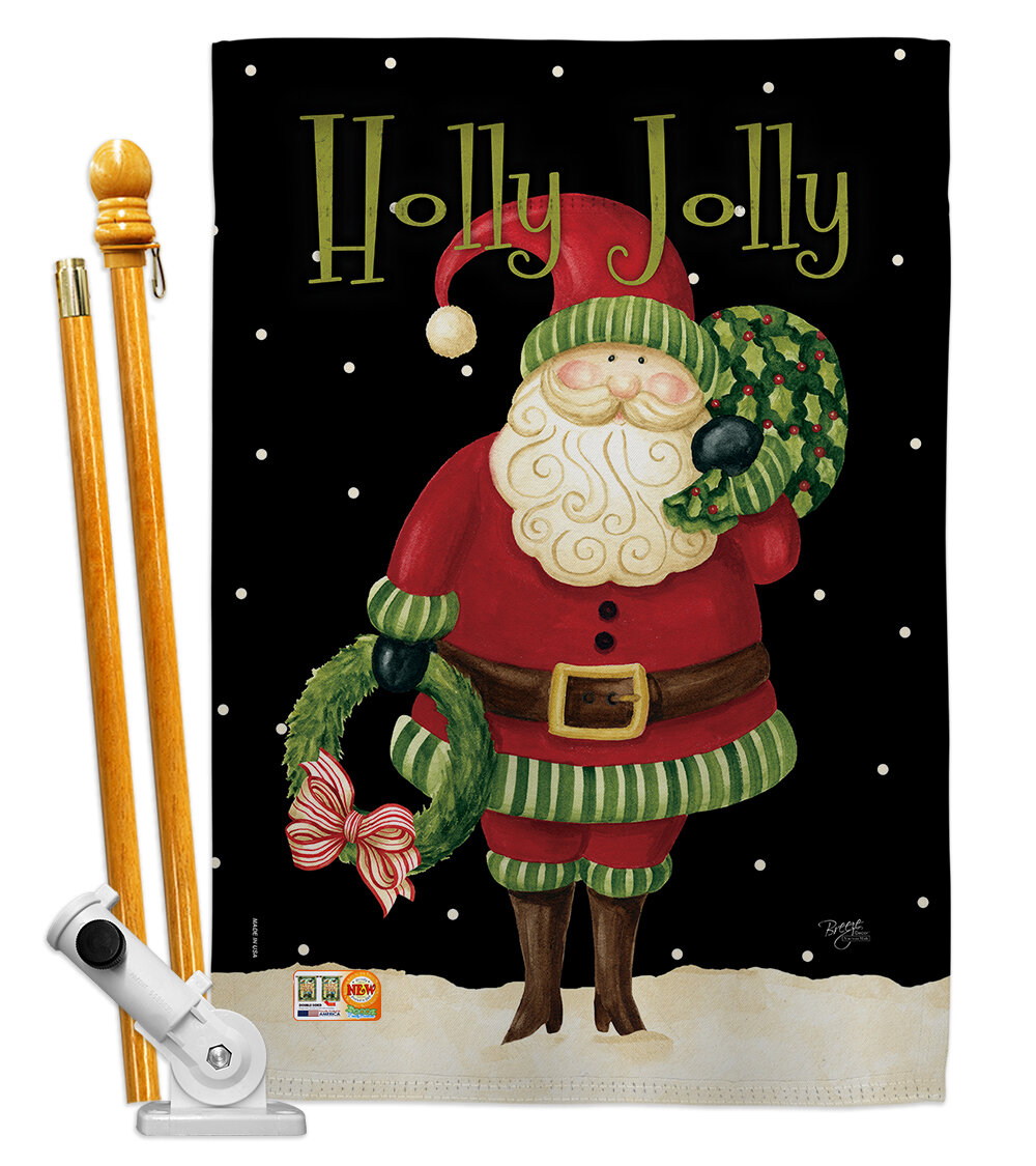 Breeze Decor Holly Jolly Santa Impressions Decorative 2 Sided Polyester 40 X 28 In Flag Set Wayfair