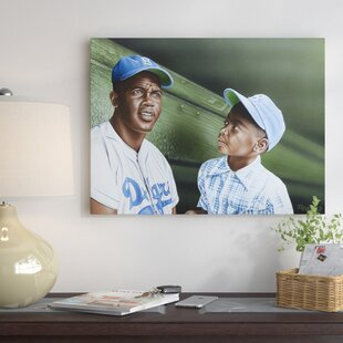 'Jackie Robinson Chatting with Young Fan in the Dugout' Oil Painting Print on Wrapped Canvas by East Urban Home
