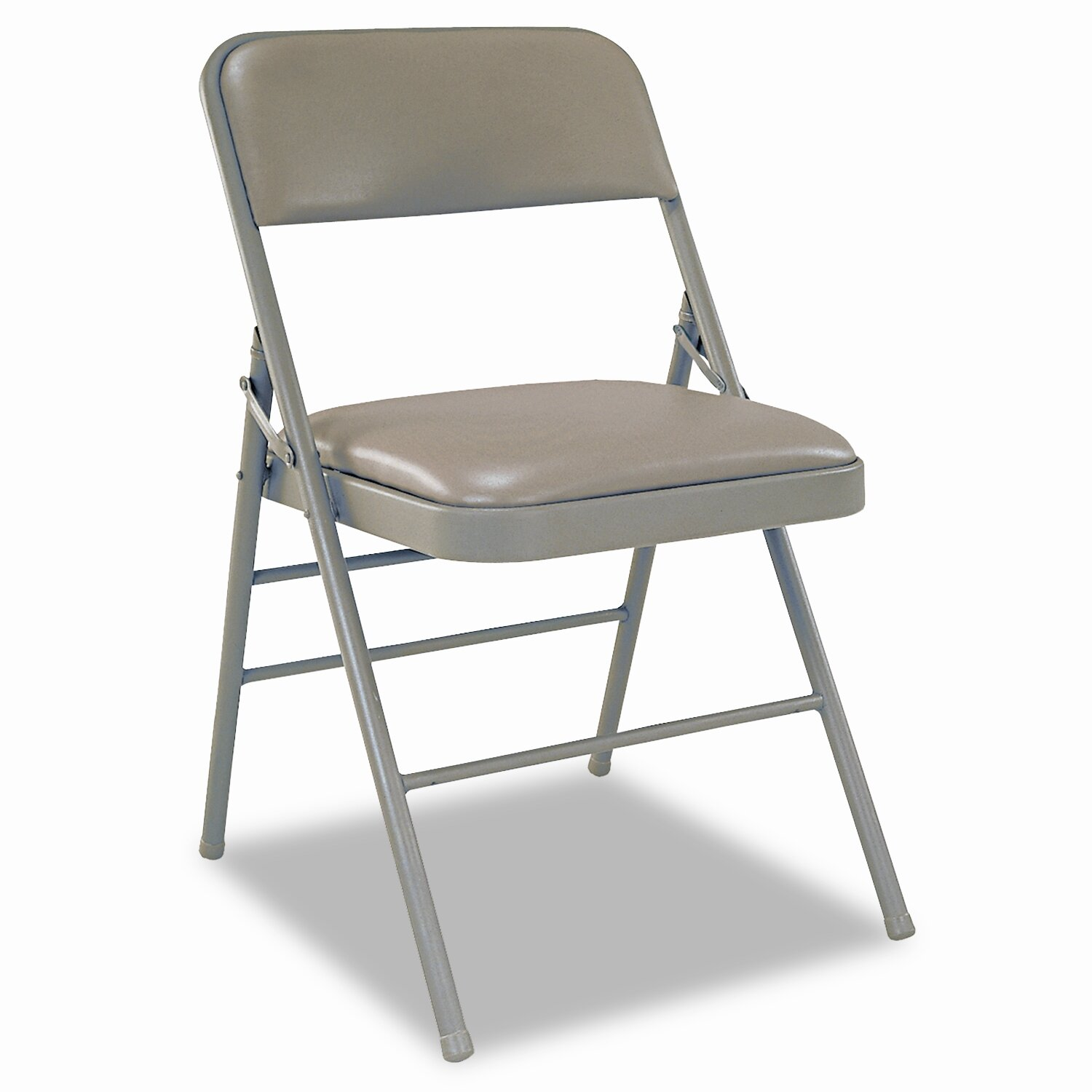 Cosco Deluxe Vinyl Padded Seat and Back Folding Chairs Taupe