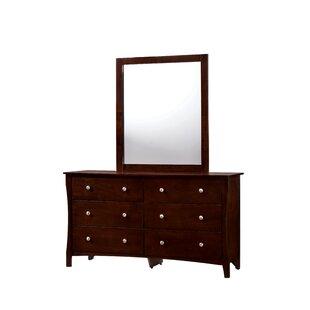 Red Barrel Studio Joshua 6 Drawer Double Dresser with Mirror