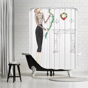 Palladium Black Lace Shower Curtain