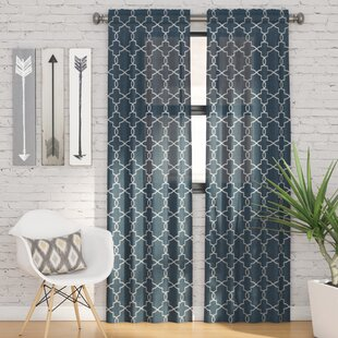 Kaiser Geometric Semi Sheer Rod Pocket Curtain Panels (Set Of 2)