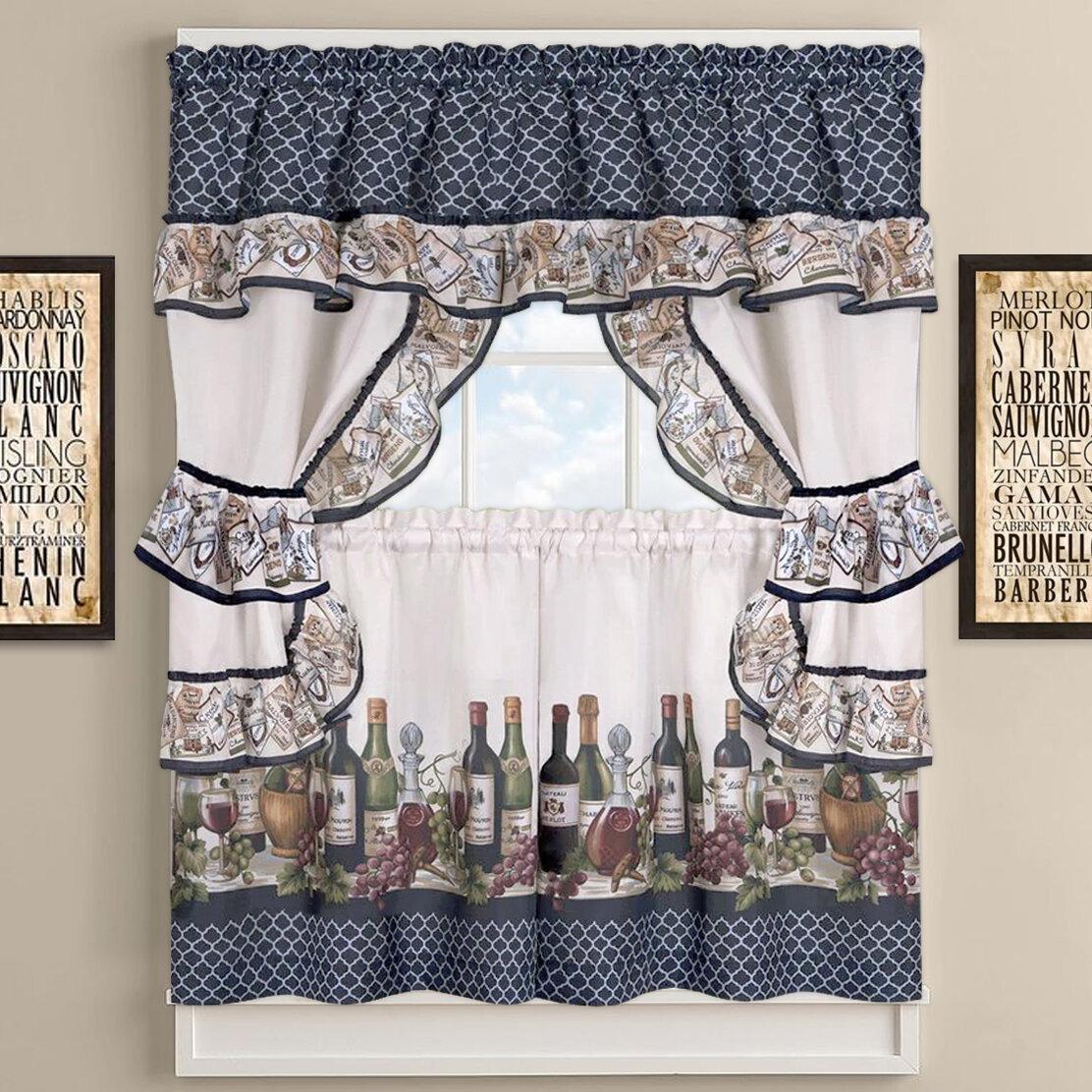Sweet Home Collection Chateau Wines Cottage Kitchen Curtains Reviews Wayfair